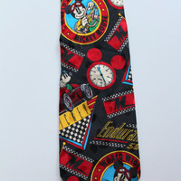 Vintage Mickey Mouse Racing Silk Necktie 1990s