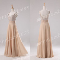 Champagne Beads V-neck Spaghetti Straps Long A-line Bridesmaid Celebrity Dress,Chiffon Formal Evening Party Prom Dress New Homecoming Dress