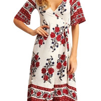 Deep V Neck Short Sleeve Floral Print Summer Dress