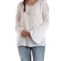 White Crochet-Trim Bell Sleeve Top by Charlotte Russe