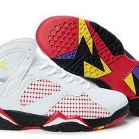 Hot Air Jordan 7 (VII) Retro Women Shoes White Black Red