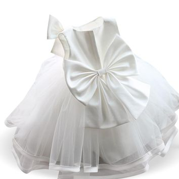 White Baby Girl Dress Baptism Clothes Girl 1 2 Year Birthday Outfit for Baby Girl Wedding Dress Little Girl Party Frocks Designs