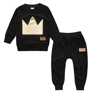 RY-172 Autumn baby boy pullover with long sleeves O-shaped neck cotton printing Imperial crown Baby clothing set ropa de bebe