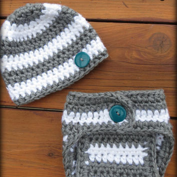 Crochet Diaper Cover Pattern and Hat Pattern - Newborn Photo Prop - Soaker Pattern - Stripe