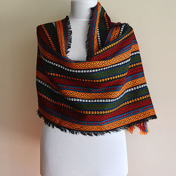 Ethnic Aztec scarves, Multicolored Vintage Style, TURKISH Traditional Hand-Woven Scarf, Women Accessories, Women Scarves