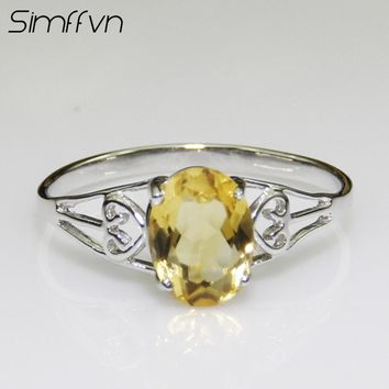 Simffvn  Princess 6*8mm  Natural Citrine Engagement Halo Ring 925 Sterling Silver Ring for Women Fine Jewelry