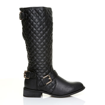 CARMEN Black PU Leather Block Low Heel Quilted High Calf Snow, Winter Boots