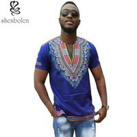 2016 summer autumn mens African clothing dashiki clothes knitting stitching Batik printing short sleeve tops man T shirt