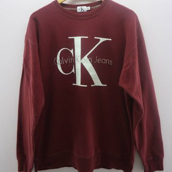 Clavin klein Jeans Sweatshirt Big Spell Out Street Wear Round Neck Sweater
