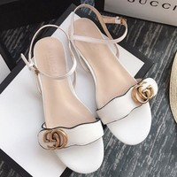 Gucci Sandals Flat Slipper Women Trending Casual Sandals Shoes White