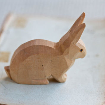 Alice - Name Carved Natural Wood Little Bunny
