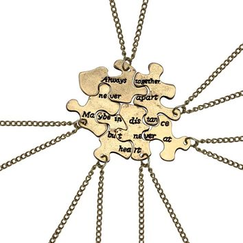 6pcs/set Vintage Best Friend Pendant Bronze Puzzle Irregular Geometry Necklace Women Bff Long Distance Friendship Jewelry Gifts