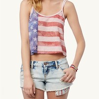 Old Glory Criss-Cross Crop Tank