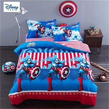 disney marvel comforter bed set queen size 3d bed linens 100% cotton kids room decor twin full single size bedroom decor 3/4 pcs