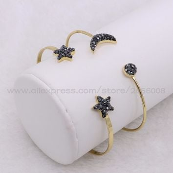 Trendy bangle Bracelet Moon&star bracelet Cubic Zircon Gold color slim cuff metal bangle  women jewelry fashion bangle 2086