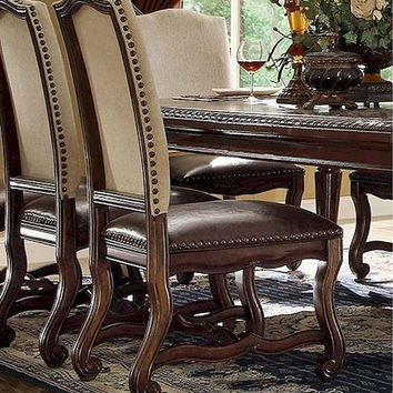 Set of 2 monaco collection dark finish wood dining chairs with linen back with nail head trim