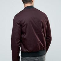 New Look MA1 Bomber Jacket In Burgundy at asos.com