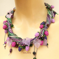 Berry necklace - Multi strand necklace - Statement necklace - Charm necklace - Berries