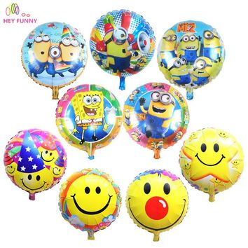 HEY FUNNY 5 pcs/lot 18 inch round minion balloon for children birthday party supplies can inflated helium globos free shipping