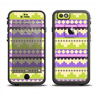 The Purple & Green Tribal Ethic Geometric Pattern Apple iPhone 6 LifeProof Fre Case Skin Set
