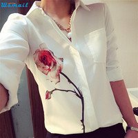 Womail Newly Design Women's White Full Sleeve Rose Flower Printed Blouse Turn Down Collar Chiffon Shirts 160126 Drop Shipping