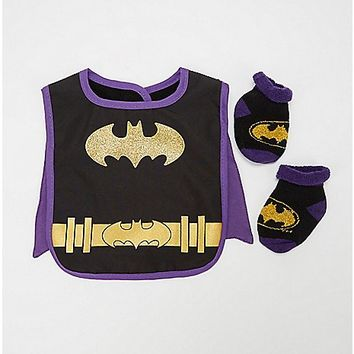Batgirl Caped Bib Set - Spencer's