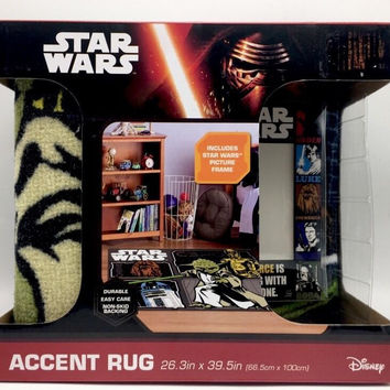 Star Wars Disney Activity Accent Rug 26.3 x 39.5 inch with Picture Frame New