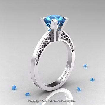 Modern Armenian 14K White Gold Lace 1.0 Ct Aquamarine Solitaire Engagement Ring R308-14KWGAQ