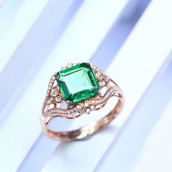Sqaure Cut 2.2ct Natural Green Tsavorite Gemstone 18k Rose Gold Diamond Accents Engagement Ring (CFGR0011)