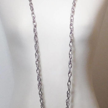 """Long Silver Chain Necklace, Large Rope Chain, 41 Inch, 47 1/2"""", Vintage Costume Jewelry, Silver Tone Chain, Wrap Necklace, Antique Silver"""