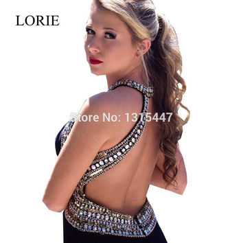 Stunning Women Chiffon Long Prom Dresses 2017 Backless Robe De Soiree Turkish Black Mermaid Dress To Party Formal Evening Gowns