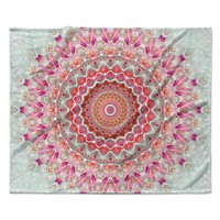 "Iris Lehnhardt ""Summer Lace III"" Circle Pink Green Fleece Throw Blanket"