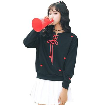 2018 Winter Lolita Womens Hoodies Sweatshirts Embroidery Love Lace Up Pullovers Harajuku Kawaii Cute Tracksuit Sweatshirt WH7855