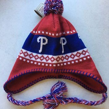 CREYONC. 47 BRAND PHILADELPHIA PHILLIES MLB  KNIT HAT WITH TIES SHIPPING