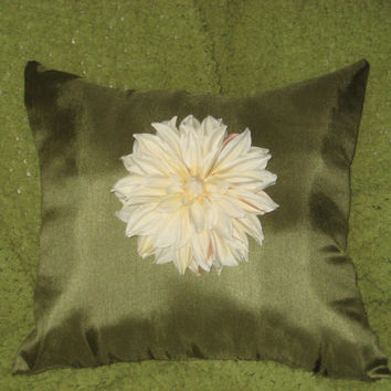 Two Ivory Dahlia Flower Pillow (Free Shipping)