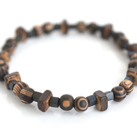 Wood gunmetal men's bracelet unisex bead jewelry wood stretch elastic bracelet masculine jewelry light weight gift for him 8""