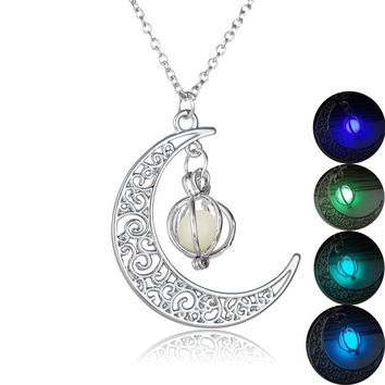 Crescent Moon Glow In The Dark Necklaces Pumpkin Glowing Stone Luminous Necklaces Silver Color Fluorescent Necklace Black Friday