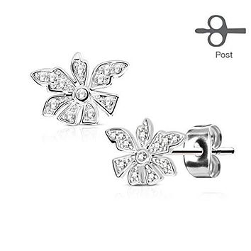 Pair of Micro Pave CZ Flower 316L Surgical Steel Post WildKlass Earring Studs