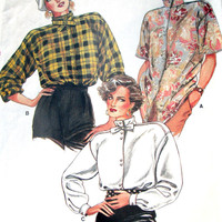 Oversized Top long sleeve shirt high collar short sleeve blouse boxy loose fit bow tie sewing pattern vintage 80s Vogue 8584 women small 8