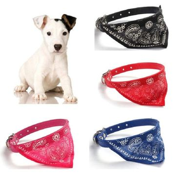 Transer Pet Dog Supplies Jacquard Print Puppy PU Leather Neckerchief Scarf Bandana Dog Collars for Small Dog Free Shipping