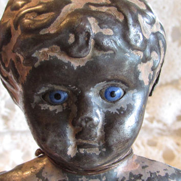 Metal Doll Head, Minerva Germany Doll Head with Blue Glass Eyes, Antique Doll Head, Dolls and Miniatures, Primitive Doll, laslovelies