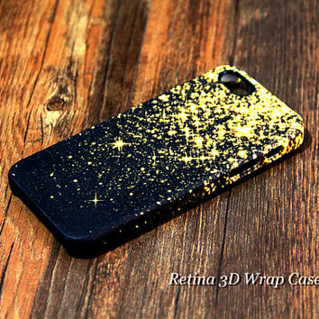 Gold Glitter Falling 3D-Wrap iPhone 5S Case iPhone 5 Case iPhone 5C Case iPhone 4S Case iPhone 4 Case iPhone 6 Rubber Case