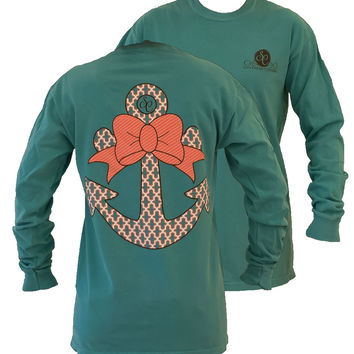 Southern Couture Preppy Anchor Big Bow Comfort Colors Seafoam Girlie Long Sleeve Bright T Shirt