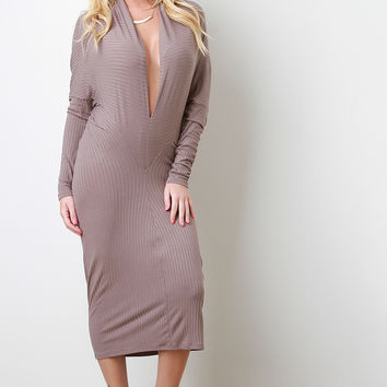 Ribbed Plunging Neckline Midi Dress