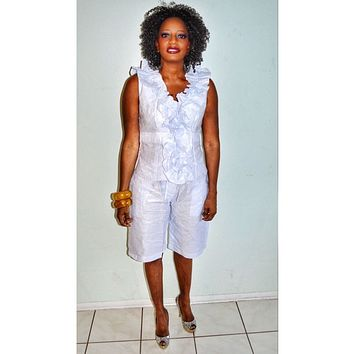 African Inspired White Ruffle V Neck Top And Shorts