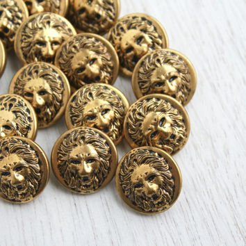 Vintage Brass Lion Button Lot - 15 Gold Tone Supply Figural Shank Buttons / Wild Cat Head Findings