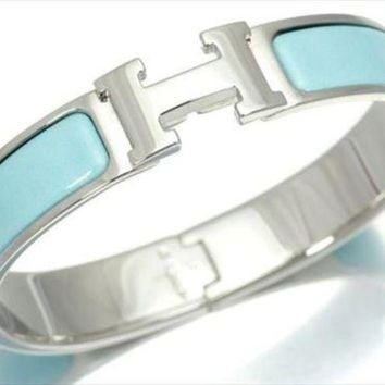 Kalete HERMES Clic Clac PM Bracelet Bangle Light Blue Silver Ladies FS NOS Mint #1897
