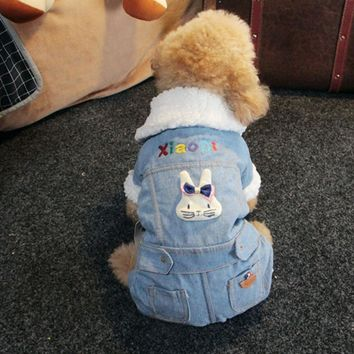 Trendy OnnPnnQ Fashion Thick Pet Dog Jumpsuit Overall Clothes For Little Dogs Winter Denim Coat Jacket Costumes Clothing Rabbit Pattern AT_94_13