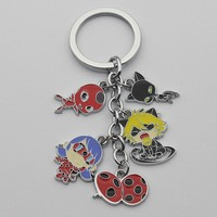 Anime Miraculous Ladybug action figure toys keychain pendant cartoon girls Ladybug Cat Noir model keychain pendant kids toys