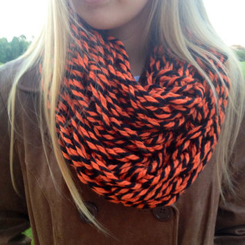 Halloween Arm Knit Infinity Scarf, Orange and Black Scarf, Halloween Infinity Scarf